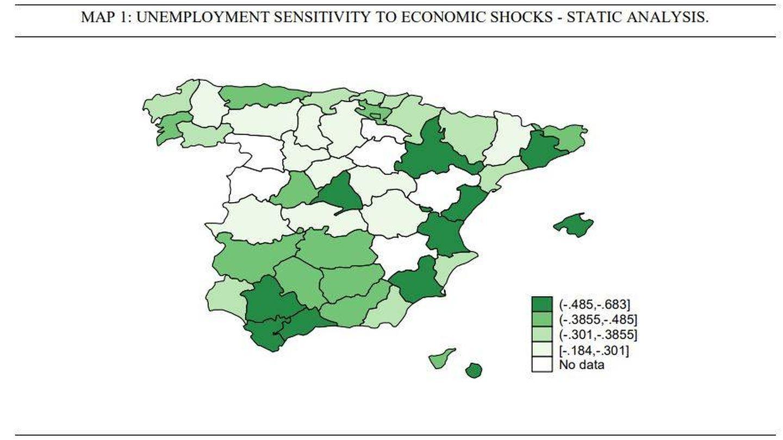 Sensibilidad del empleo por provincias. (Fuente: Celia Melguizo Cháfer)