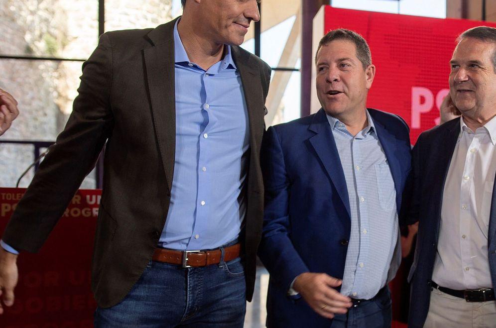 Foto: Pedro Sánchez y Emiliano García-Page, Abel Caballero y Susana Sumelzo, este 7 de septiembre en Toledo. (EFE)