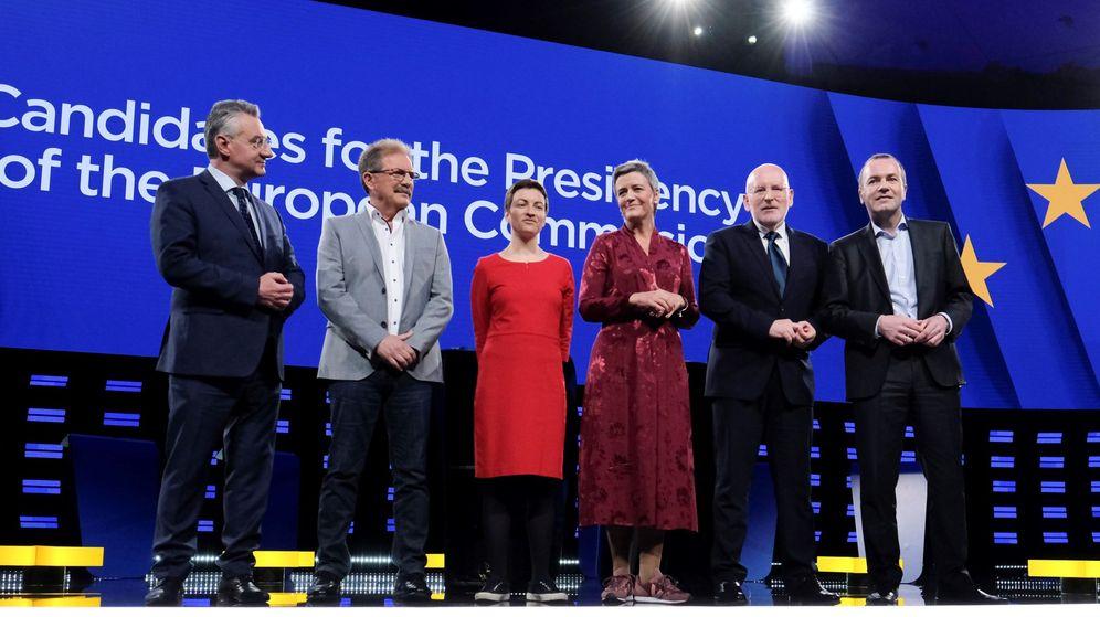 Foto: Los candidatos para presidir la Comisión Europea durante el debate (Efe)