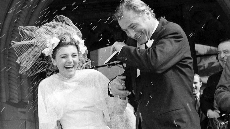 Carmen Cercera con Lex Barker, en su boda en 1961 celebrada en Ginebra. (Getty)