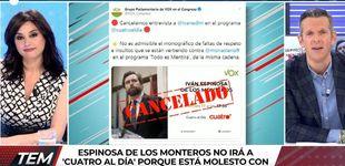 Post de Vox deja plantado a Joaquín Prat por las críticas a Rocío Monasterio en 'TEM'