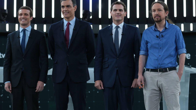 Pablo Casado, Pedro Sánchez, Albert Rivera y Pablo Iglesias. (Cordon Press)