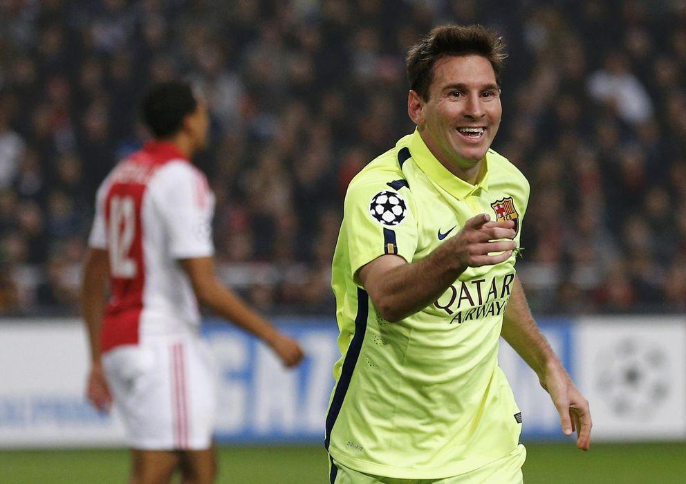 Foto: Messi celebra su segundo gol al Ajax, el que hace el número 71 (EFE).