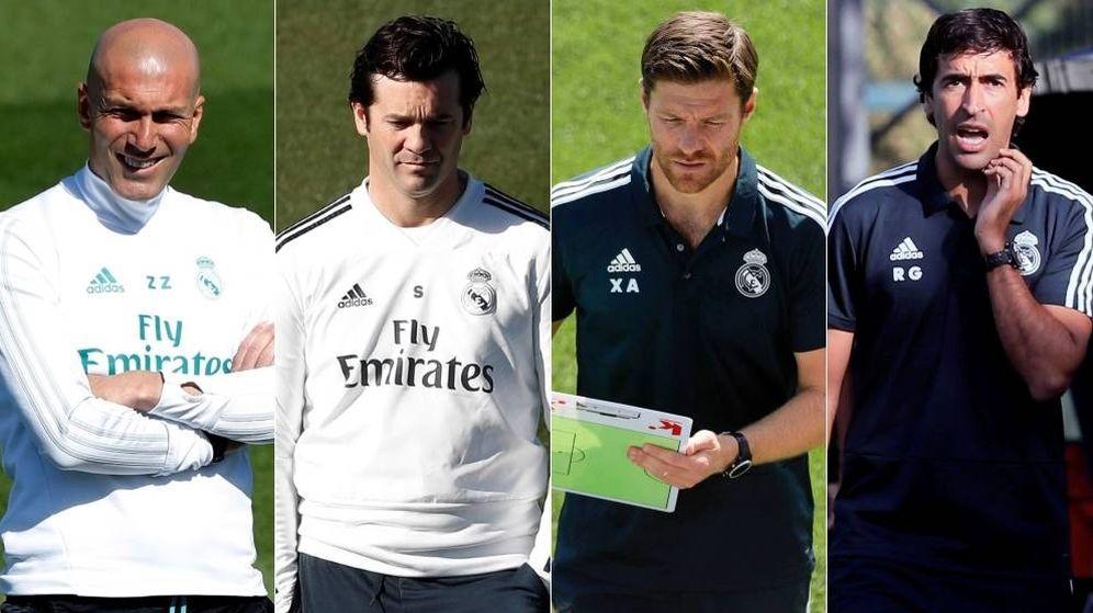 Foto: Zidane, Solari, Xabi Alonso y Raúl, cuatro entrenadores salidos de Valdebebas. (Montaje: EC)