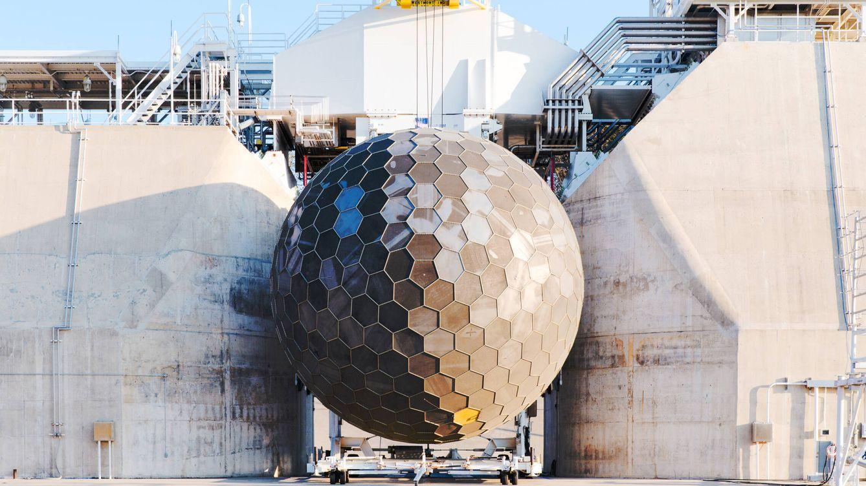 Foto: No es la estrella de la muerte sino la estructura de control de turbulencias del centro de pruebas de motores de GE en Pebbles (General Electric)