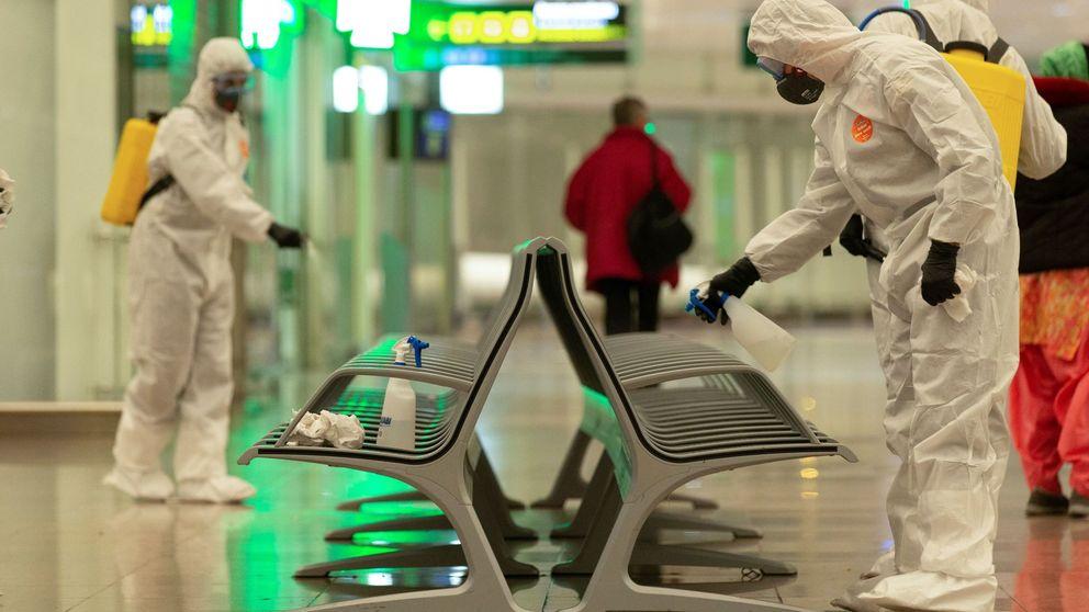 El ejército desinfecta el aeropuerto de Barcelona y coronavirus en Alemania