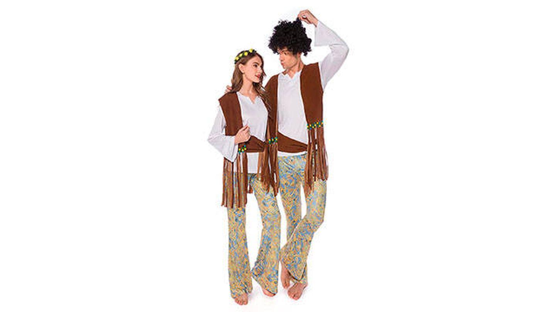 Disfraz de pareja Hippie Psicodélico de los años 70