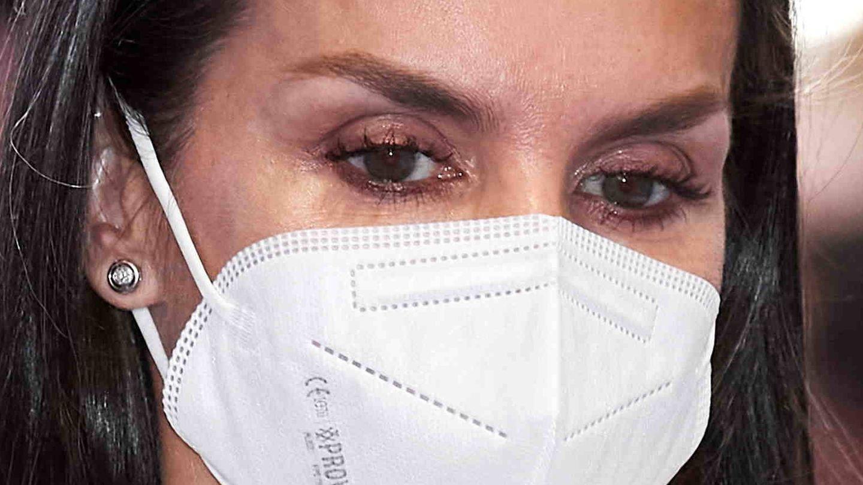 Detalle del maquillaje de ojos de Letizia. (Getty)