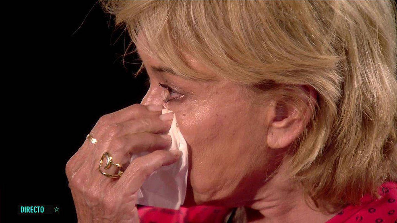 Mila Ximénez, con lágrimas en los ojos. (Mediaset)