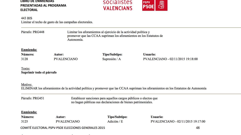 Captura de pantalla del libro de enmiendas del PSPV-PSOE. (EFE)