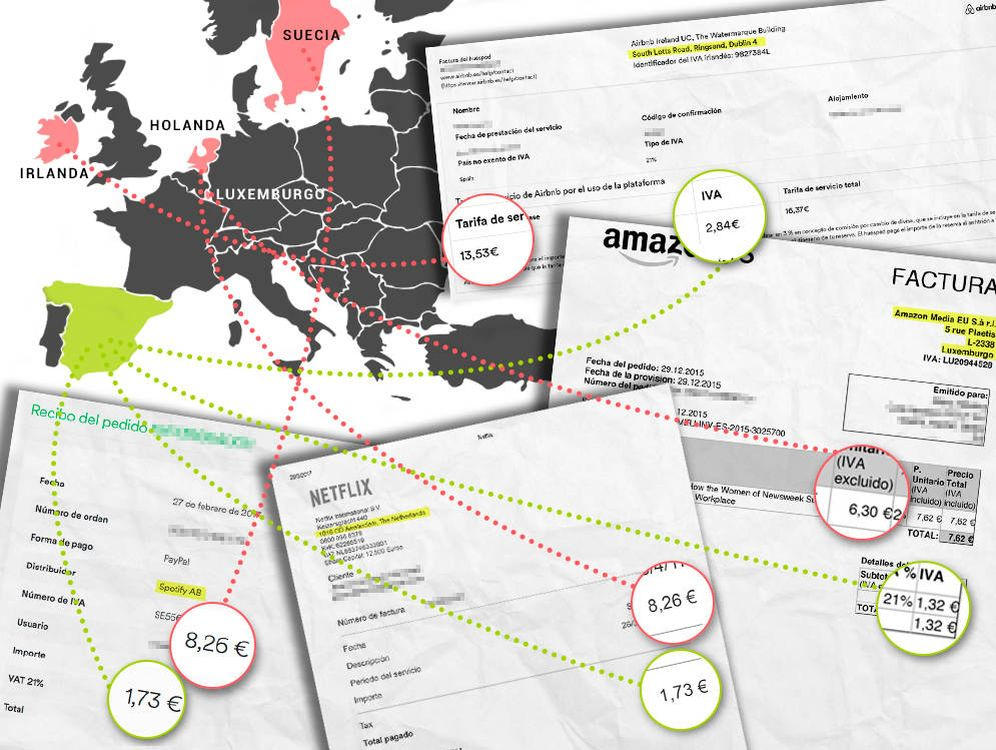 Foto: Las facturas que pagas a las grandes digitales muestran a qué países se va el dinero pagado por los clientes de España. (Montaje: Carmen Castellón)
