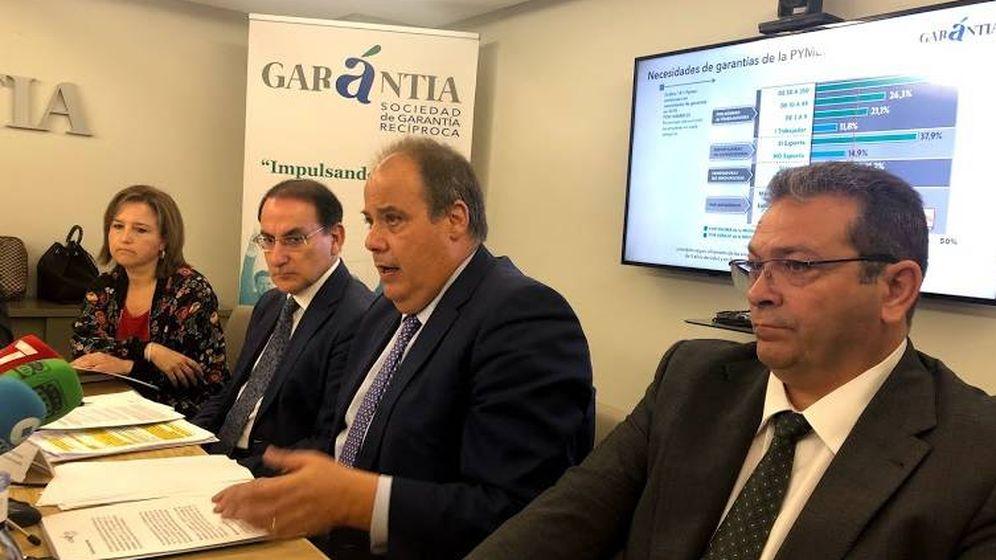 Foto: Cúpula de la SGR Garántia en la presentación del estudio. (Garántia)