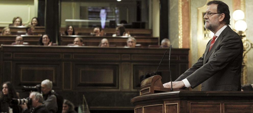 Foto: El presidente del Gobierno, Mariano Rajoy, durante su intervención en el pleno del Congreso. (EFE)