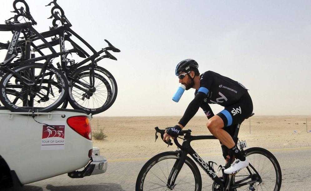 Foto: Bradley Wiggins, con Sky en el Tour de Qatar 2015. (EFE)