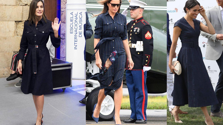 Letizia Ortiz, Melania Trump y Meghan Markle con sus vestidos denim.