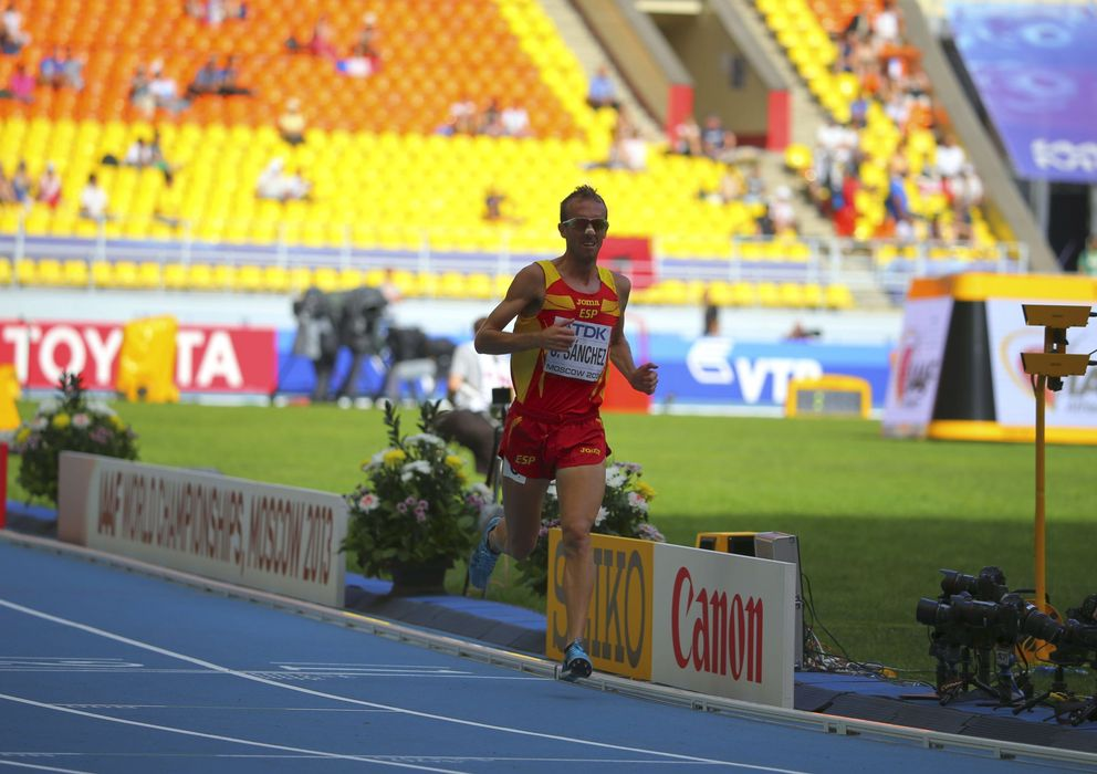 Foto: Sergio Sánchez, durante una de las eliminatorias de los Mundiales de Atletismo de Moscú 2013.