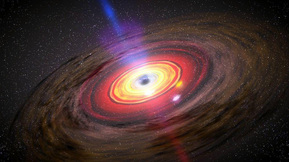 Foto: Ilustración de un agujero negro supermasivo.