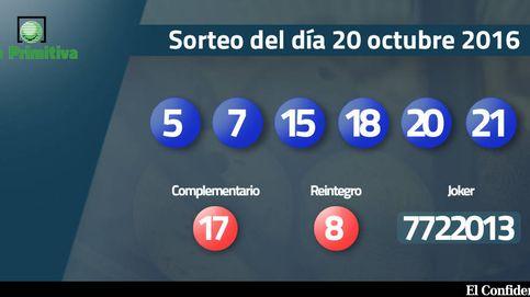 Resultados del sorteo de La Primitiva del 20 de octubre 2016: números  5, 7, 15, 18, 20, 21