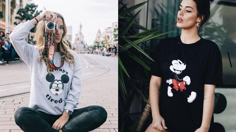 De izq. a dcha.: María Pombo con sudadera de Tipi Tent con motivo de Mickey Mouse y frase (45 €) y Aida Domenech con camiseta negra de Dulceidashop (25 €). (Imágenes: Cortesía)
