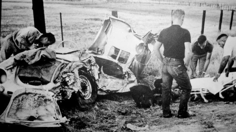 Fotografía del accidente publicada tras su muerte.