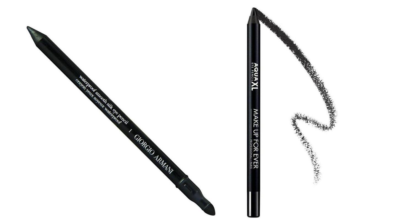 Lápices de ojos waterproof de Giorgio Armani y Makeup Forever.