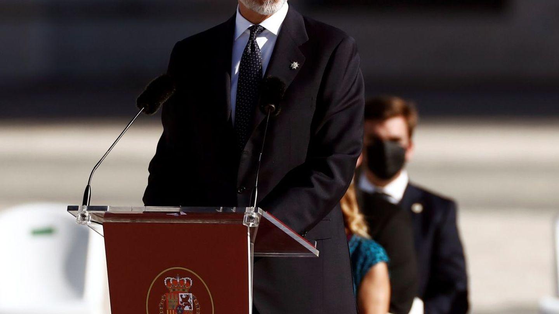 El rey Felipe VI, durante su intervención en el homenaje de Estado a las víctimas de la pandemia de coronavirus. (EFE)
