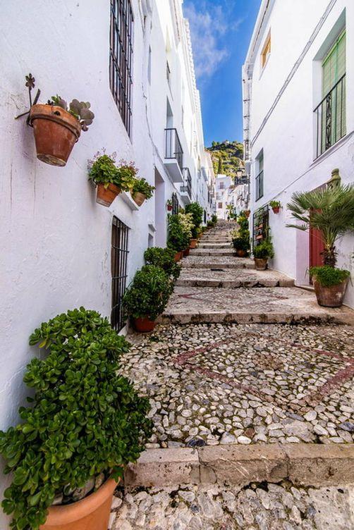 Foto: Calles estrellas y empinadas, pasadizos... y todo blanco. (Turismo de Frigiliana)