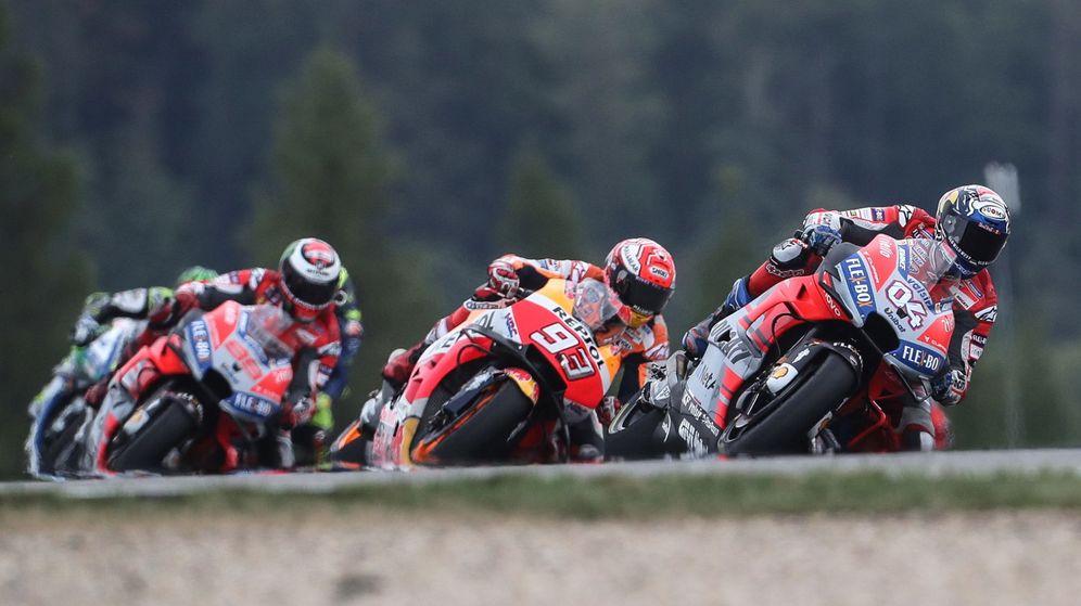 Foto: Jorge Lorenzo, Márquez y Dovizioso, este domingo en Brno. (EFE)
