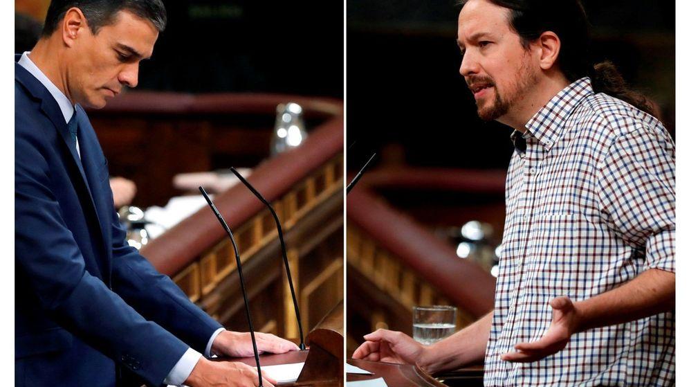 Foto: El presidente del Gobierno en funciones y el lider de Unidas Podemos, Pablo Iglesias, durante la pasada sesión de investidura. (EFE)