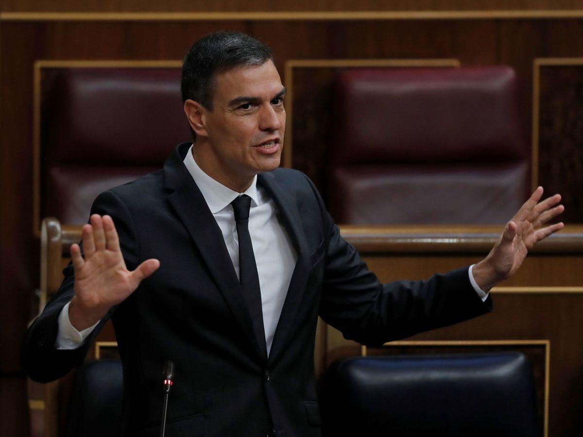 Foto: Pedro Sánchez, este 27 de mayo en la sesión de control al Gobierno en el Congreso. (EFE)