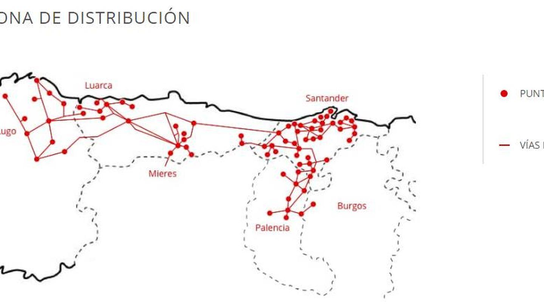 Zona de distribución de Viesgo. (Fuente: Viesgo.com)