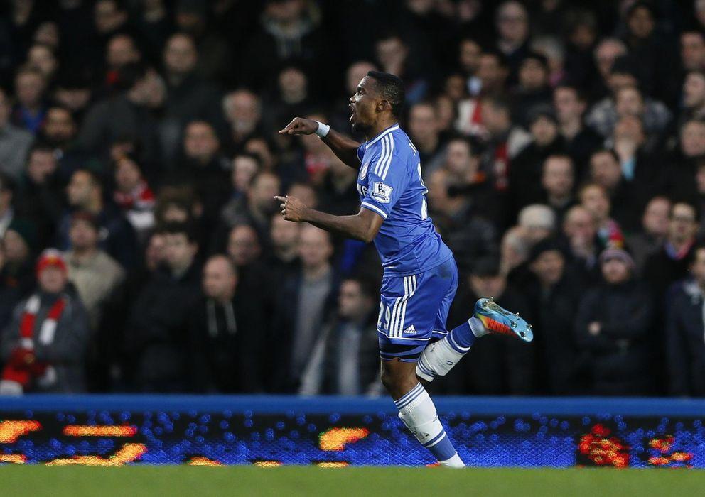 Foto: Eto'o celebra uno de los goles marcados al Manchester United (Reuters)