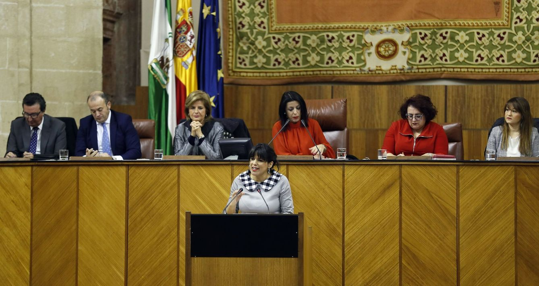 Teresa Rodríguez, en el Parlamento de Andalucía. (EFE)