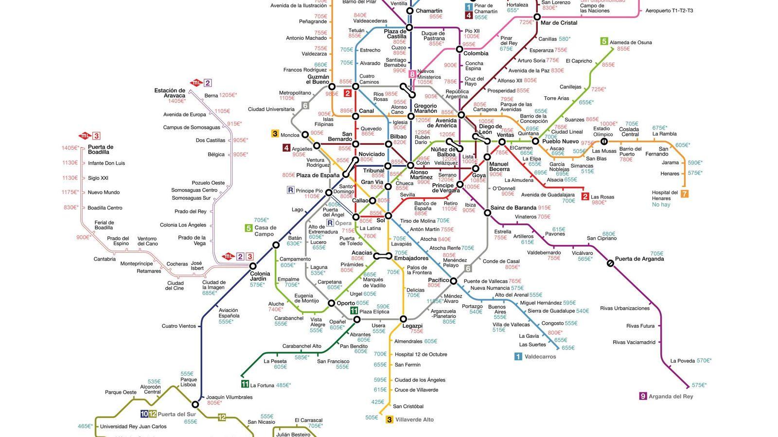 Foto: Madrid: precio mediano de vivienda en alquiler por parada de metro