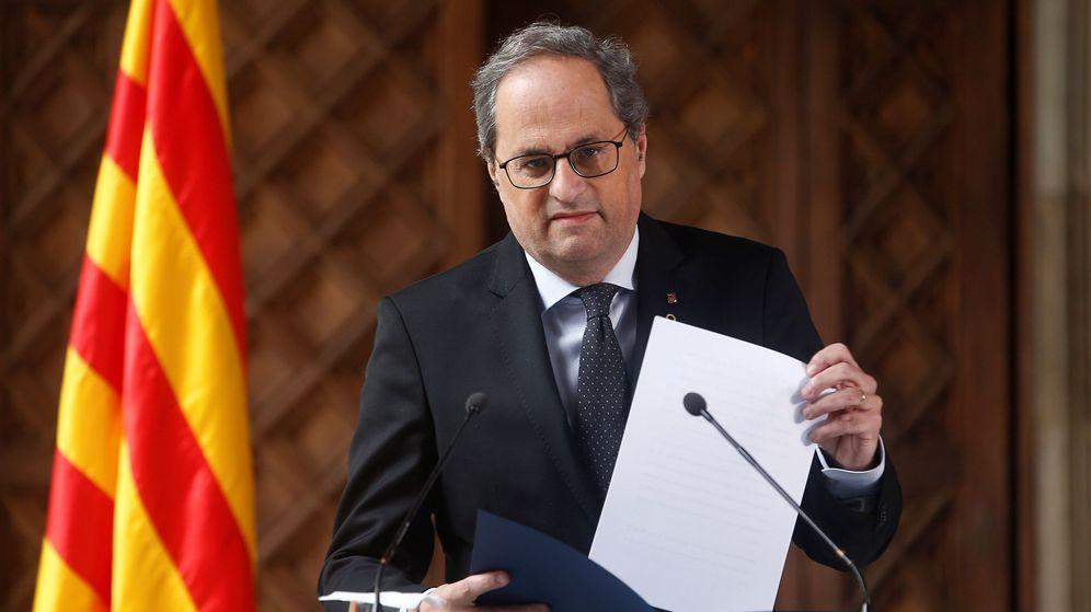 Foto: El presidente de la Generalitat, Quim Torra, durante la declaración institucional. (EFE)