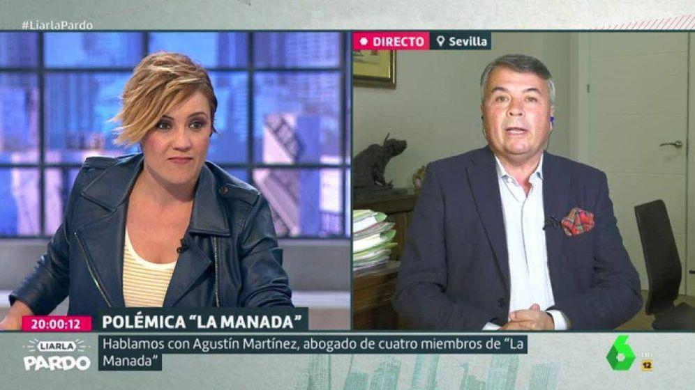 Foto: Cristina Pardo y el abogado Agustín Martínez, en La Sexta. (Atresmedia).