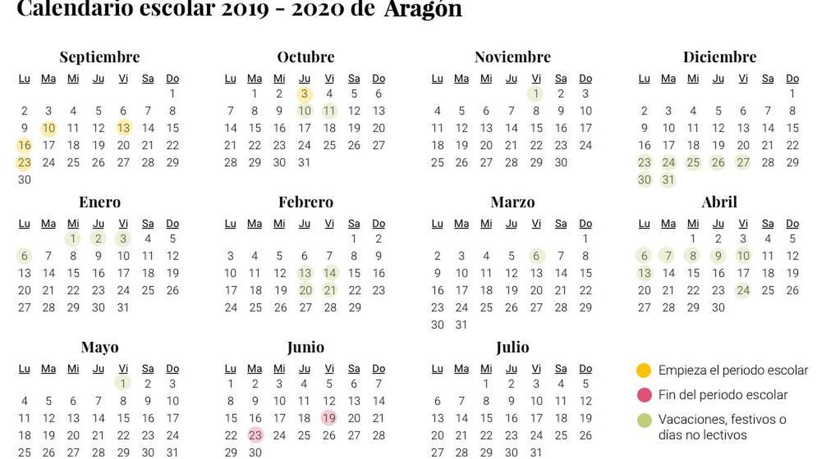 Aragon Calendario Escolar.Calendario Escolar De Aragon Para El Curso 2019 2020
