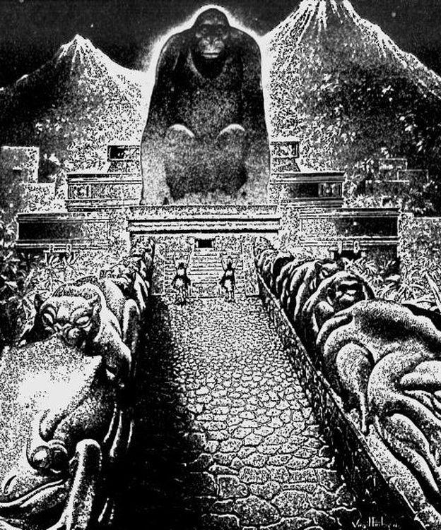 Foto: Dibujo de Virgil Finlay sobre la 'Ciudad del dios mono' descrita por Theodore Moore, publicado originalmente en 'The American Weekly' el 22 de septiembre de 1940 (Wikipedia)