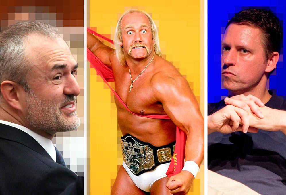 Foto: Nick Denton, fundador de Gawker Media, el ex luchador Hulk Hogan, y el millonario Peter Thiel, fundador de PayPal. (Montaje: Carmen Castellón)