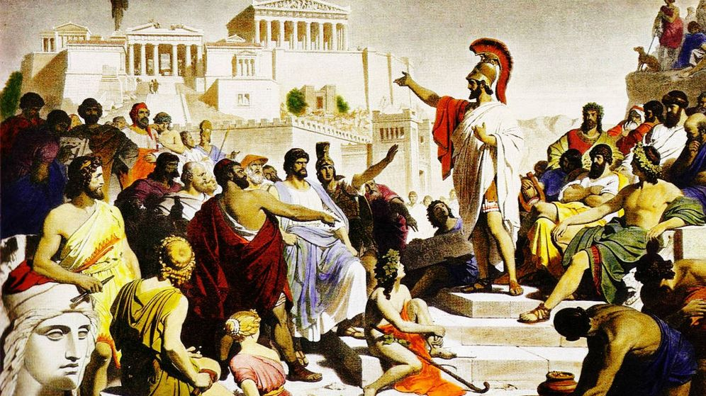 Foto: Discurso fúnebre de Pericles en el ágora de Atenas