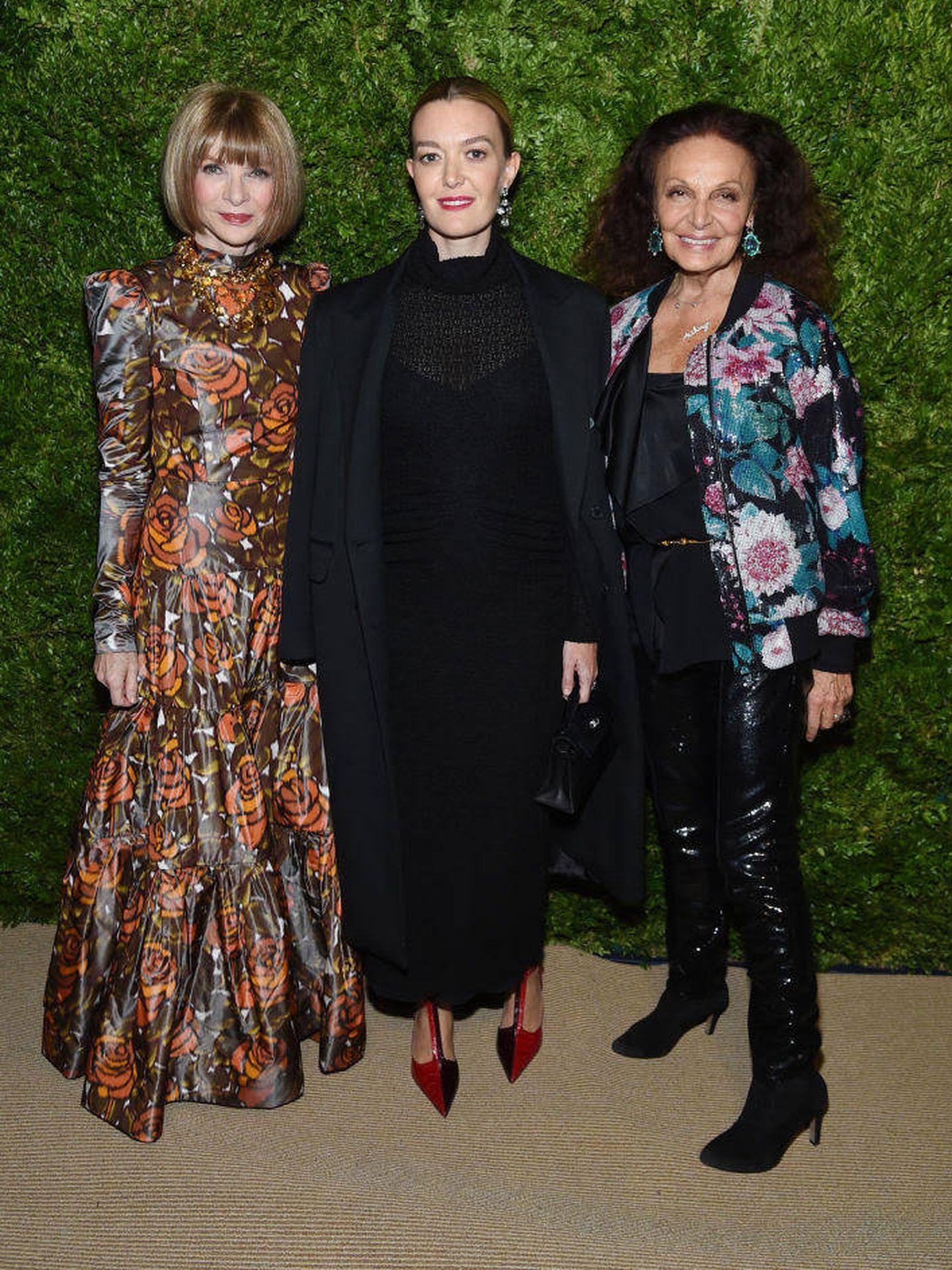 Anna Wintour, Marta Ortega y Diane von Furstenberg. (Getty)