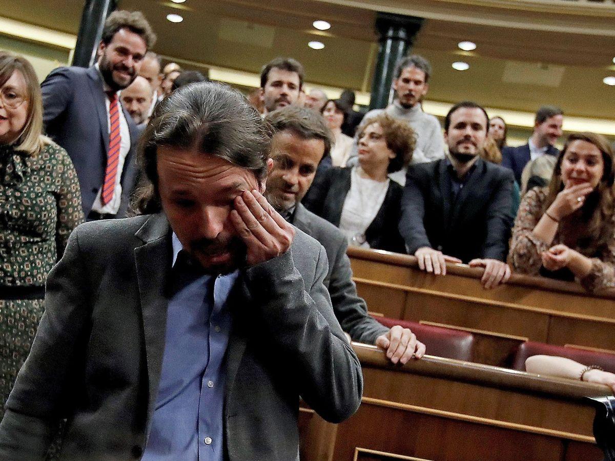 Foto: Pablo Iglesias, durante la investidura. (EFE)