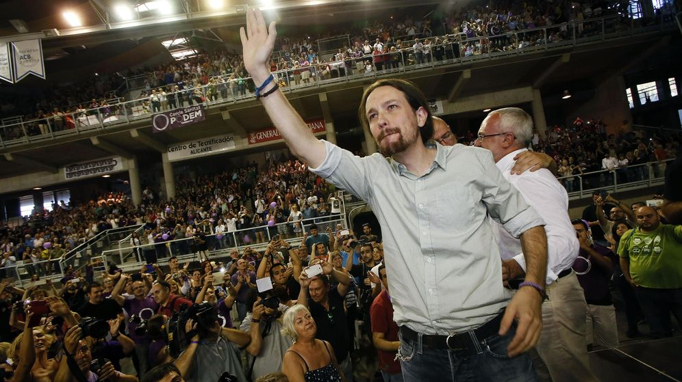 Foto: Pablo Iglesias, durante un mitin el Alicante durante la campaña electoral. (EFE)