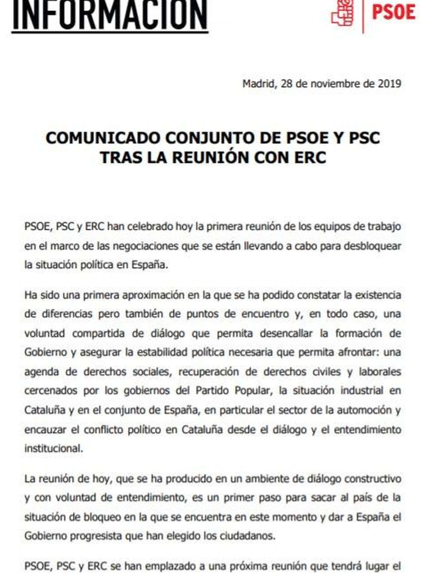 Consulte aquí en PDF los comunicados de PSOE y ERC tras su primera reunión formal este 28 de noviembre en el Congreso.