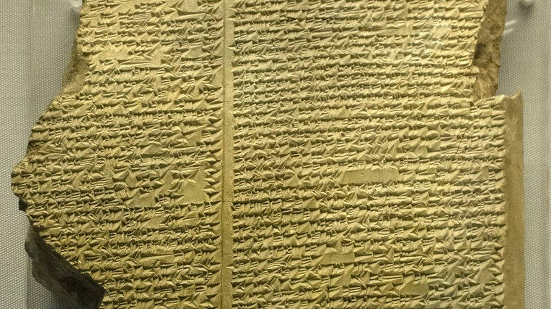 Una tablilla con parte del contenido de 'La epopeya de Gilgamesh'.