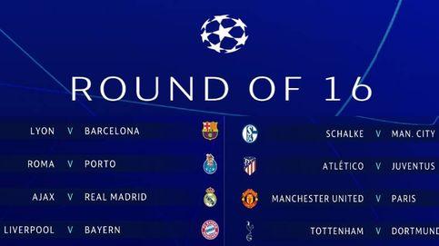 Sorteo Champions: Ajax-Madrid, Lyon-Barça y Atlético-Juventus, en octavos de final