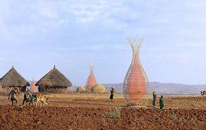 Torres de bambú y plástico para sacar agua potable del aire