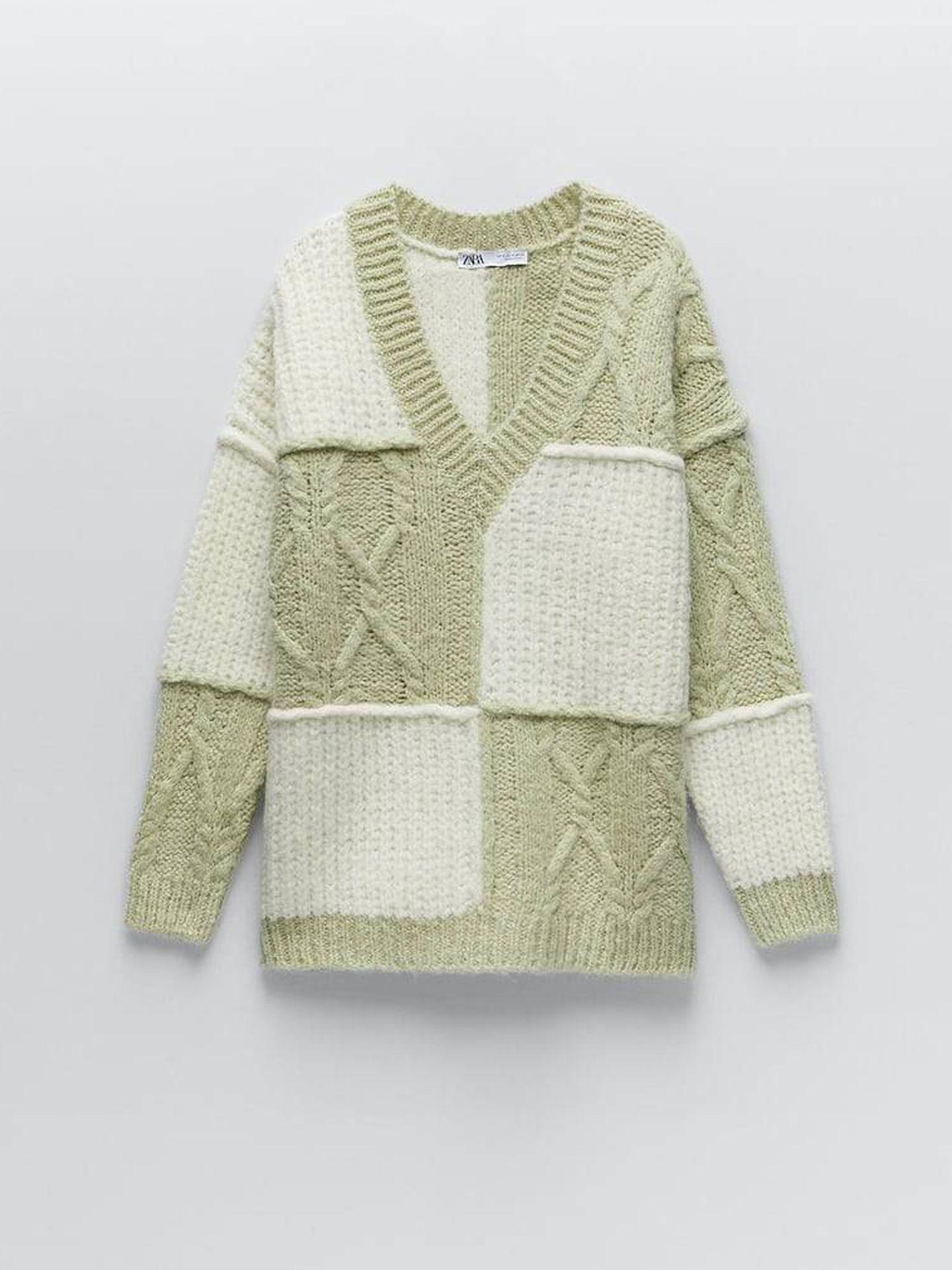 Jersey patchwork de Zara. (Cortesía)