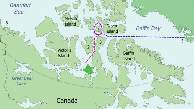 Mapa del recorrido de la expedición Franklin. (Wikimedia Commons)