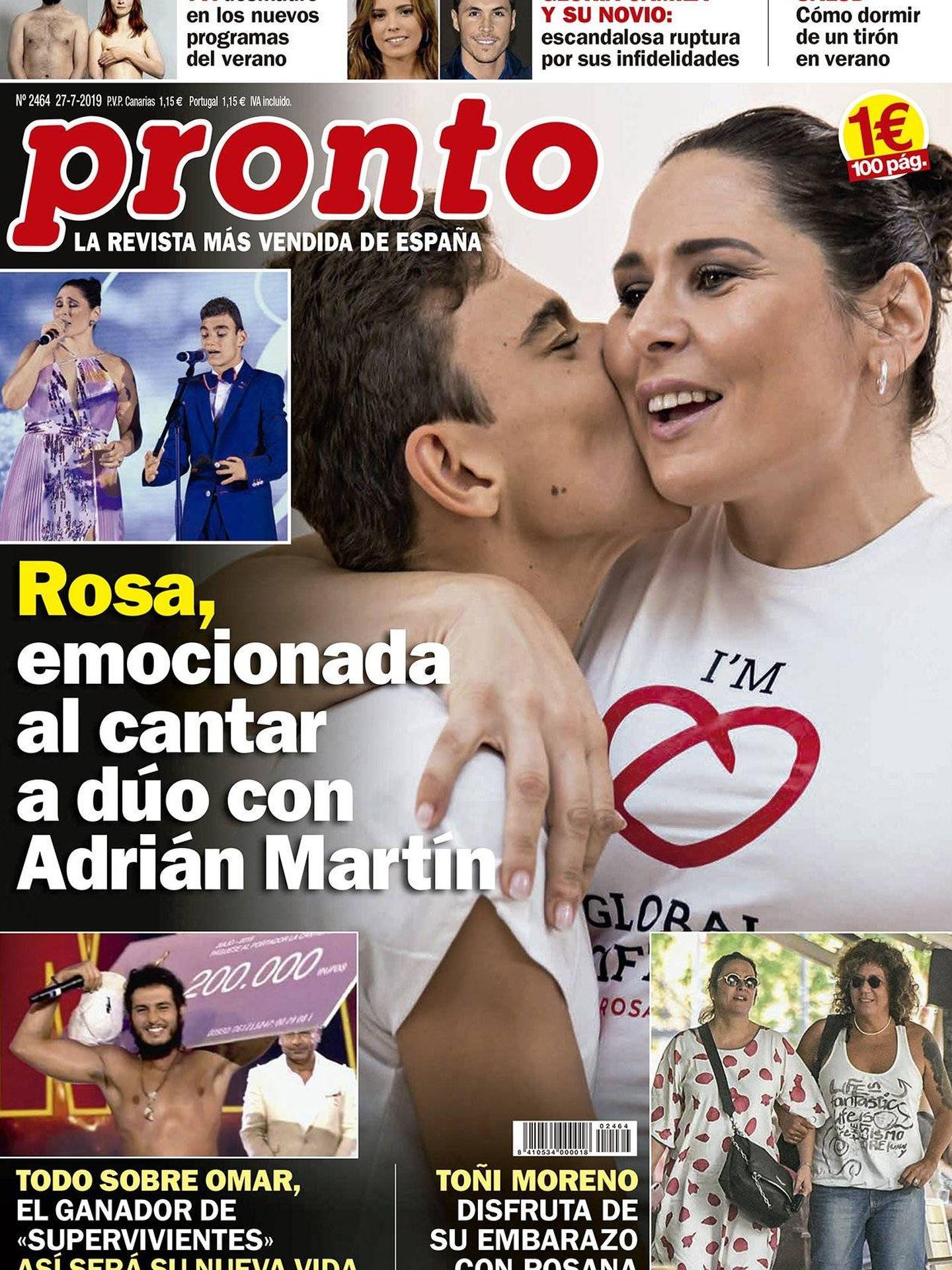 Portada de la revista 'Pronto' con Rosana y Toñi Moreno en la portada. (Pronto)